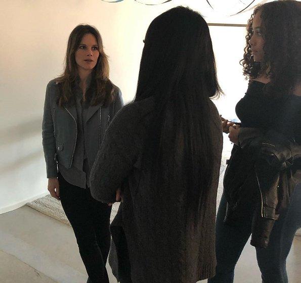 Princess Sofia wore Acne Studios mock leather moto jacket. I Have a Dream Project Playground and Sundbyberg Municipality