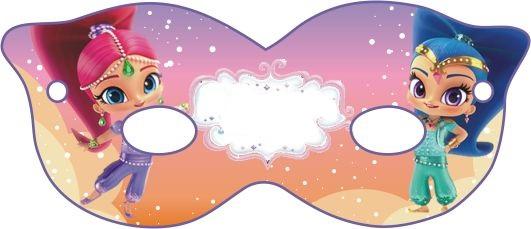 Shimmer y Shine: Máscaras para Fiesta para Imprimir Gratis.