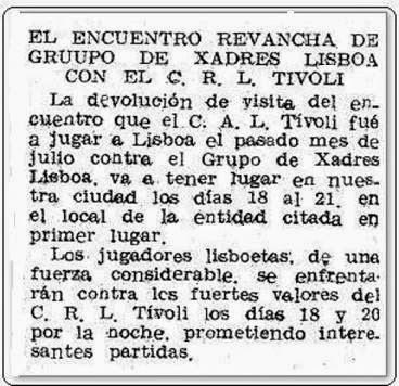 Recorte de prensa sobre el Match Internacional de Ajedrez Interclubs 1951