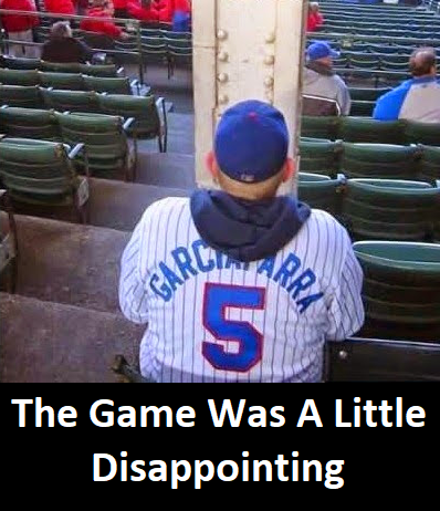 Funny image of a guy unable to watch a baseball game because of a metal post