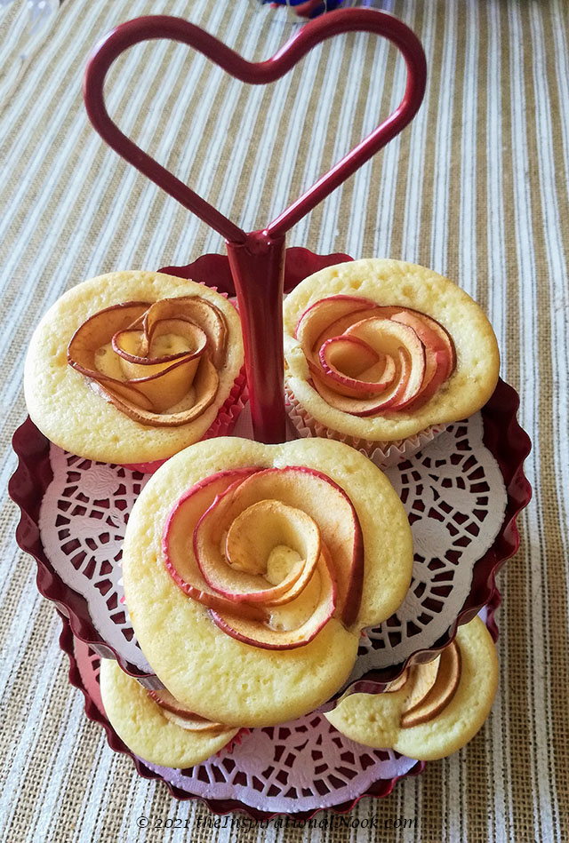 vanilla cupcakes, rose cupcakes, apple rose cupcakes, apple cupcakes, box cupcake hack, fluffy, moist, light, fruit, apple, no icing, no frosting, without frosting