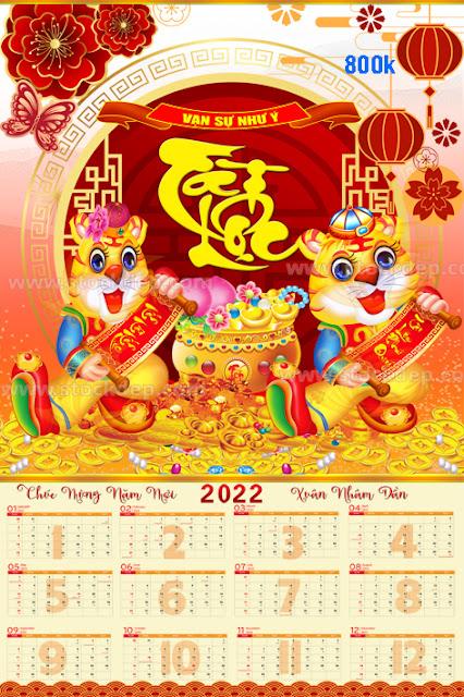 Lịch Tờ 12 tháng năm hổ vàng