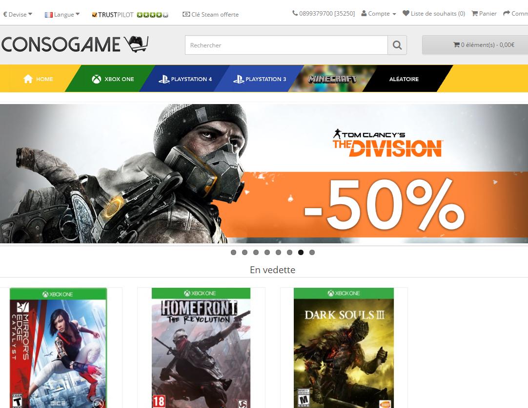 15f5e0759 موقع لبيع ألعاب الفيديو وجميع سيريالاتألعاب الفيديو الخاصة بالبلايستايشن و  الإكس بوكس. حيث يتوفر على جديد الألعاب وهو موقع موثوق وبه أثمنة متميزة.