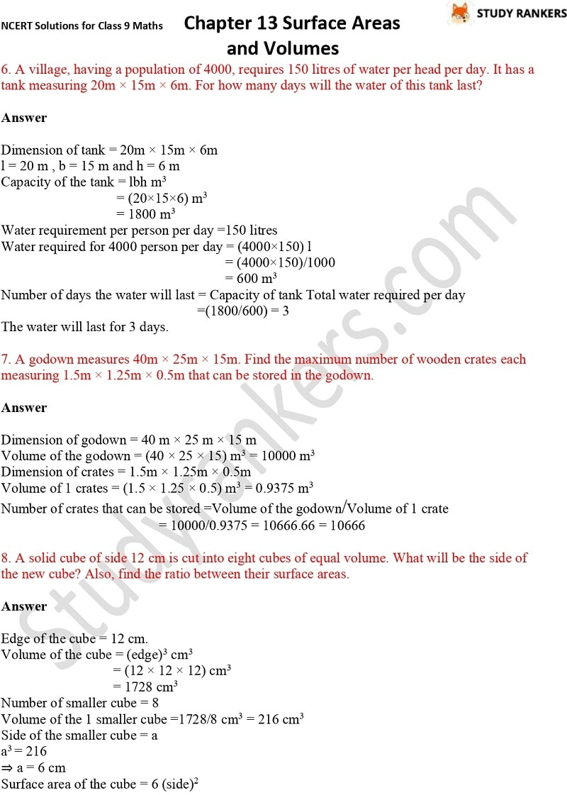 NCERT Solutions for Class 9 Maths Chapter 13 Surface Areas and Volumes Part 16