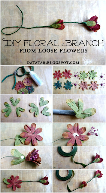 DIY Floral Branch from Loose Flowers Tutorial by Dana Tatar