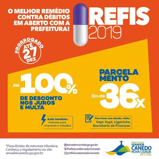 Senador Canedo: REFIS 2019 é prorrogado