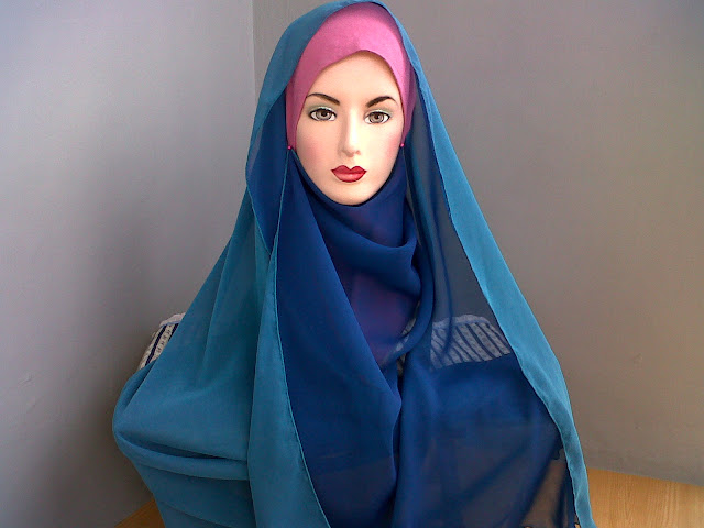 Model Pashmina Polos Bolak Balik Bahan Sifon