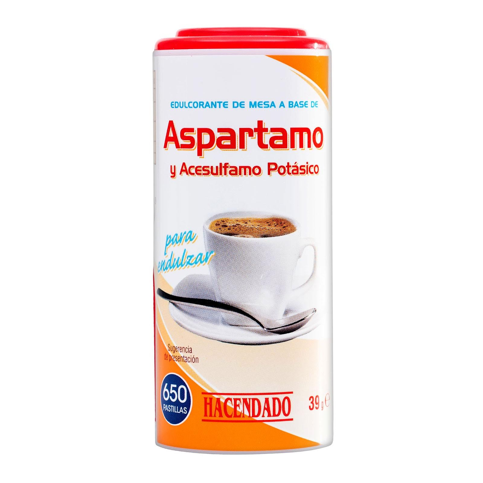 Edulcorante de aspartamo y acesulfamo potásico en pastillas Hacendado