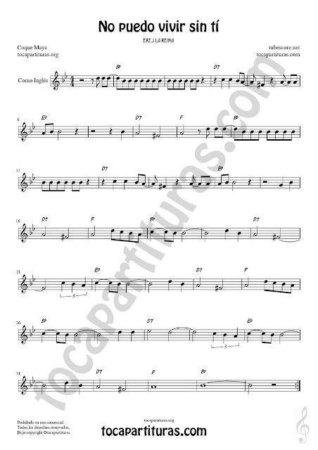 Corno Inglés Partitura de No puedo vivir sin tí Sheet Music for English Horn Music Scores