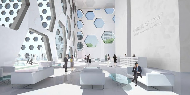 Picture of bright office tower lobby