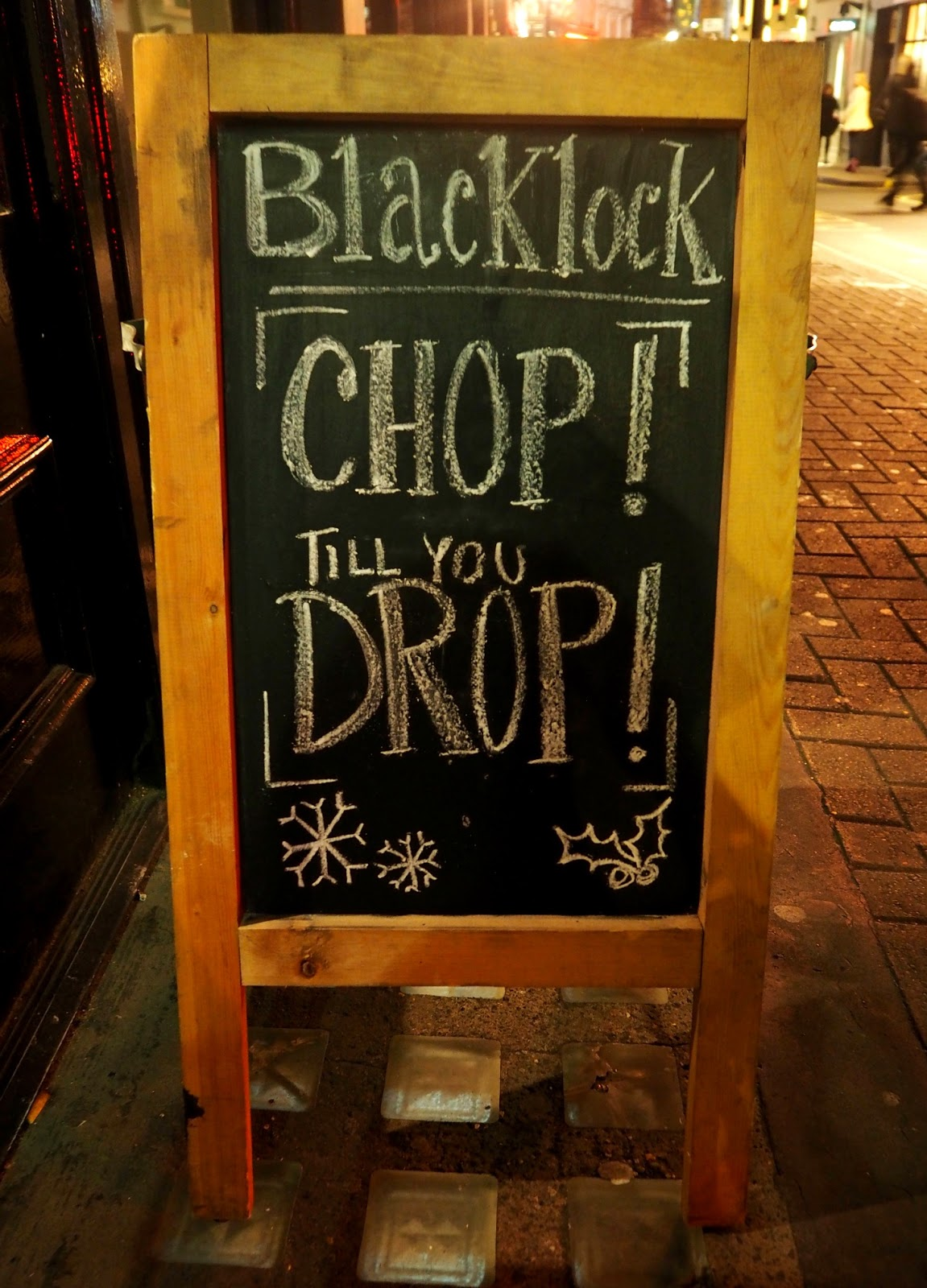 Chalkboard with menu written on