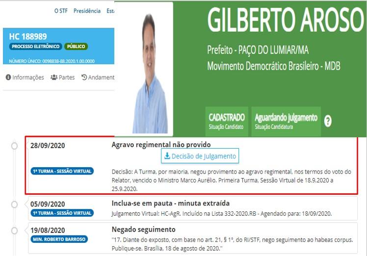 STF julga último recurso de Gilberto Aroso e seu registro de candidatura pode ser rejeitado