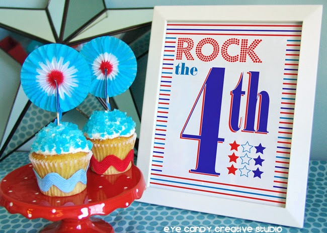 rockcandy cupcakes, 4th art print, red white & blue, cupcakes for the 4th