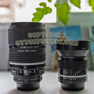 Nikon 105mm f/2 DC and 100mm f/2.8E with HB-31 hood