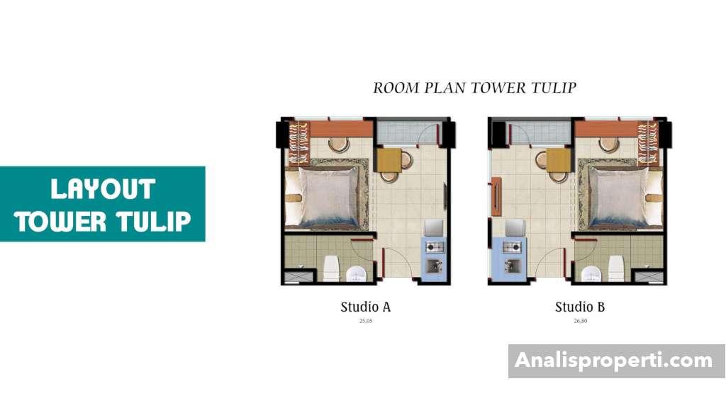 Room Plan Tower Tulip Tipe Studio Apartemen B Residence