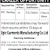 Epic Garments Manufacturing co. ltd job circular 2019