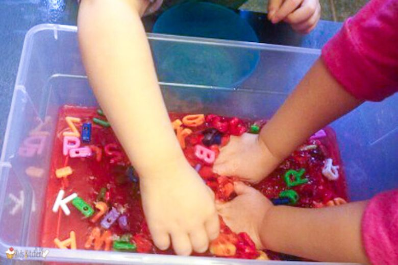 Activities for toddlers - jello alphabet sensory bin