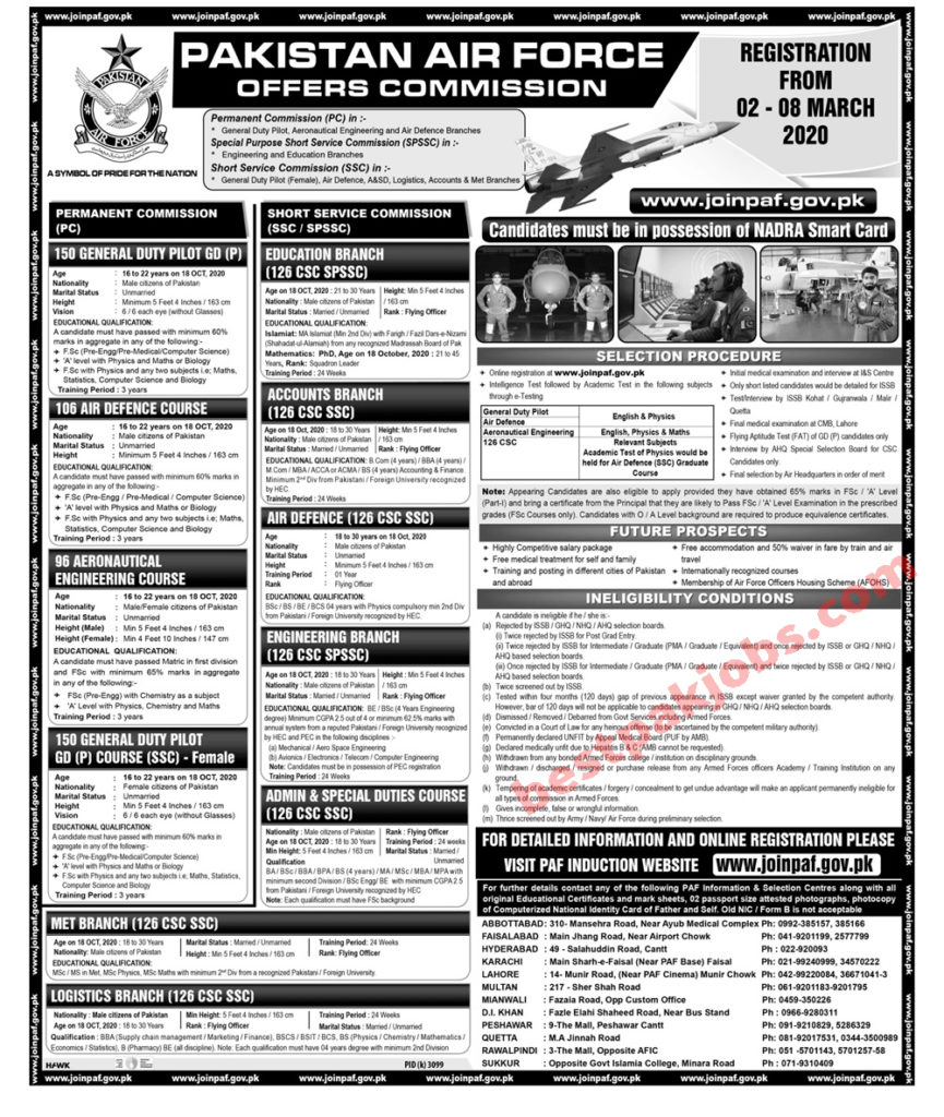 Jobs in Pakistan Air Force Latest advertisement 2020