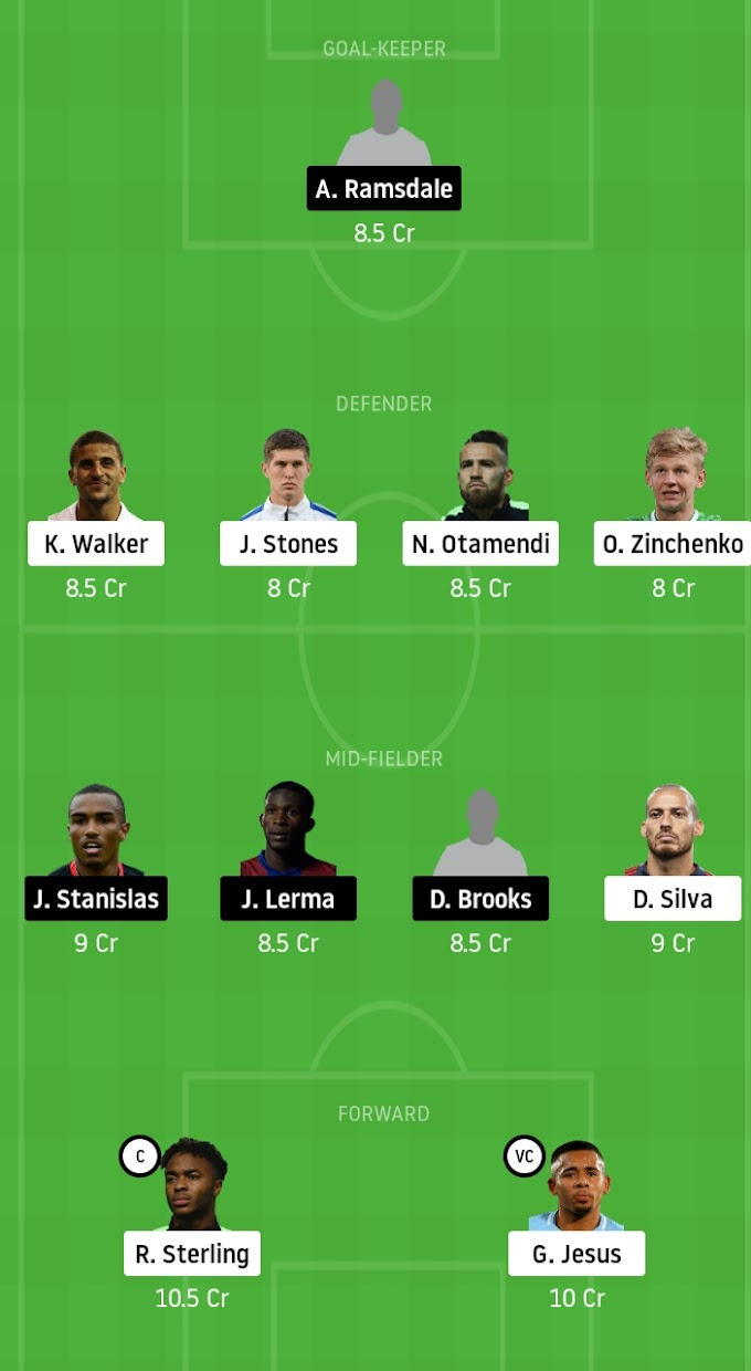 Premier League 2019-20 - Manchester City Vs Bournemouth Dream11 Fantasy Team Prediction