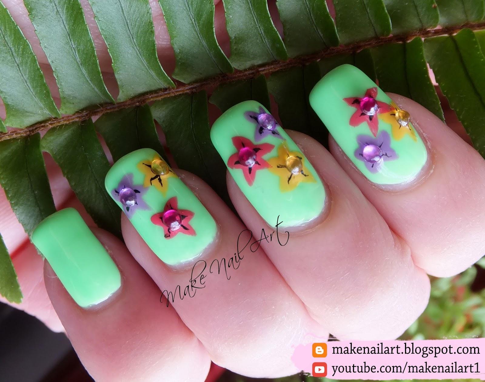 Make Nail Art Easy Spring Flowers Nail Art Design Tutorial