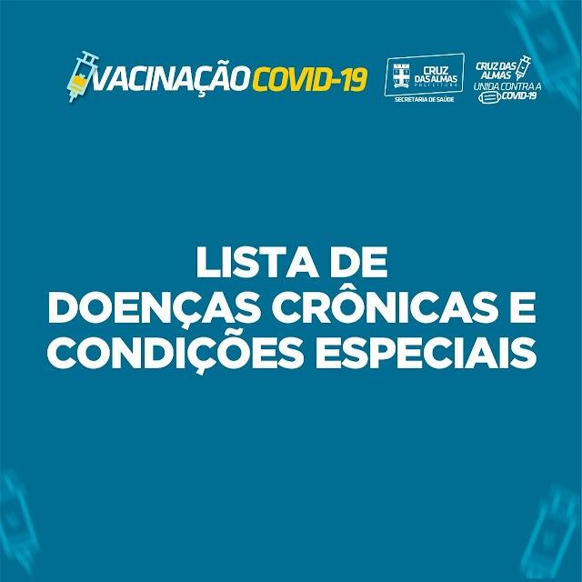 Vacinação Covid-19: Confira a lista de Doenças crônicas e condições especiais