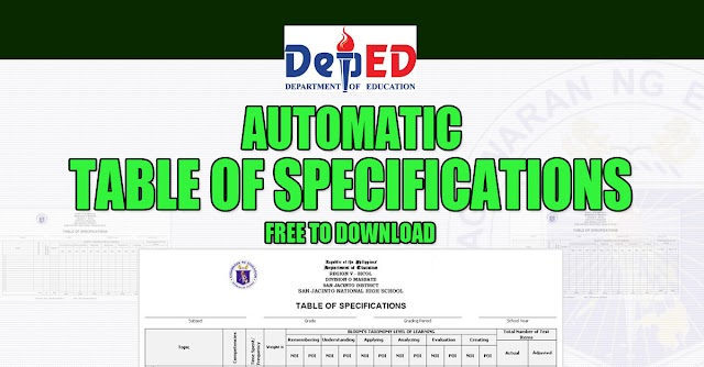 Free Automatic Table of Specifications (TOS)