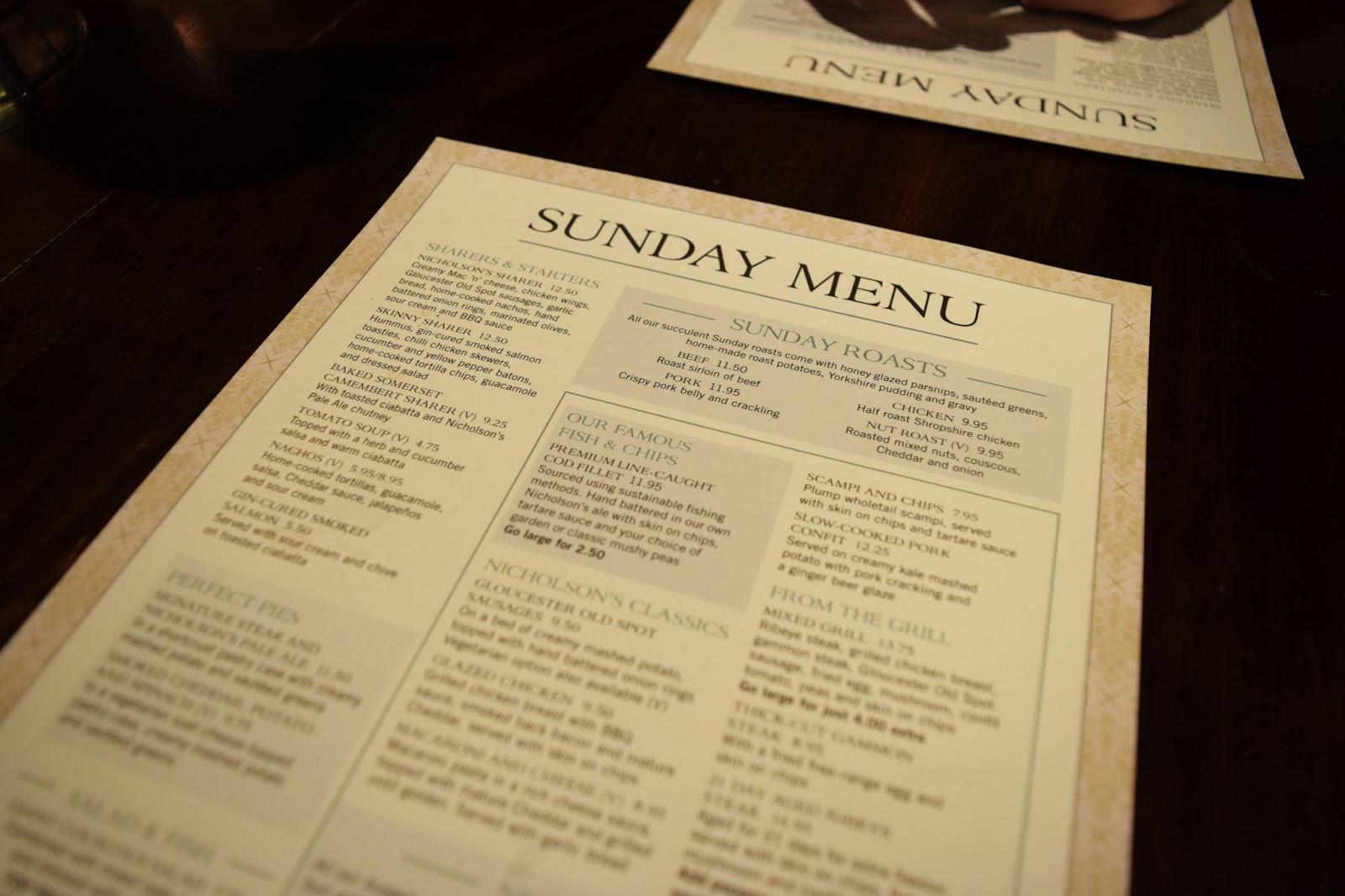 the sunday menu at Bacchus bar