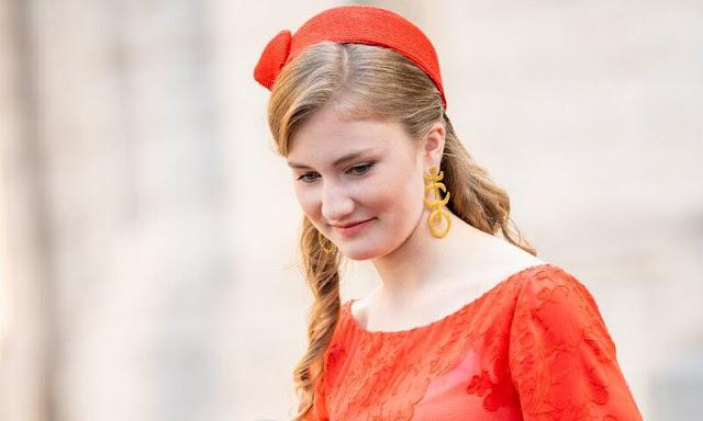 Queen Mathilde shared a new photo of her daughter, Crown Princess Elisabeth. Natan dress and Massimo Dutti blazer
