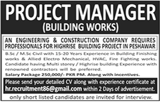 Project Manager jobs engineering & construction company  Peshawar 8 May 2017