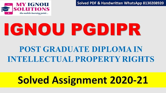 IGNOU PGDIPR Solved Assignment   2020-21