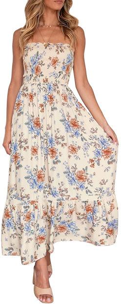 Elegant Floral Strapless Maxi Dresses