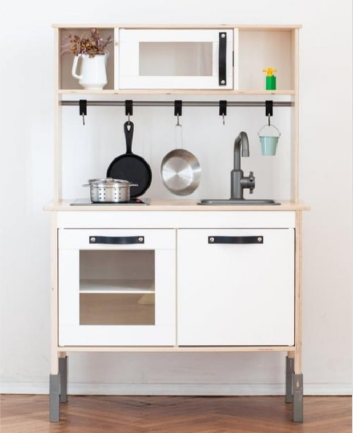 ikea kitchen with leather handles and hooks