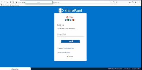 New sharepoint scam page