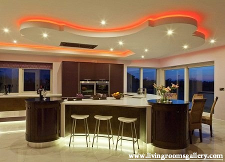 gypsum false ceiling designs with LED lighting system for dining area