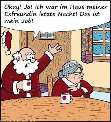 Lustiger Weihnachtsmann Comic - bei der Exfreundin Zuhause gewesen