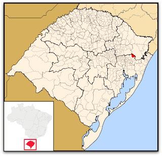Cidade de Canela, no mapa do Rio Grande do Sul