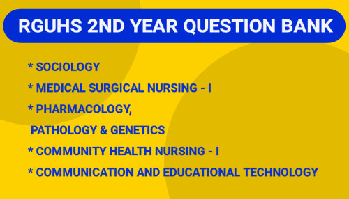 RGUHS 2nd Year B.Sc Nursing Question Bank, Blueprint PDF 2021