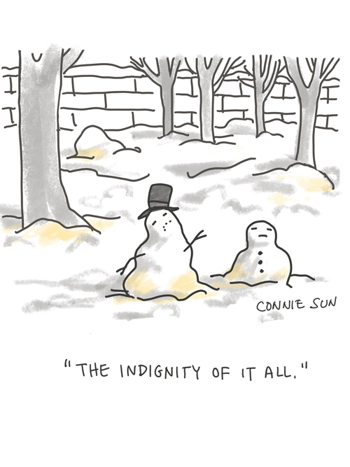 sketchbook drawing, illustration of melting snowman that has been peed on, nyc scene, winter humor, cartoon by Connie Sun, cartoonconnie