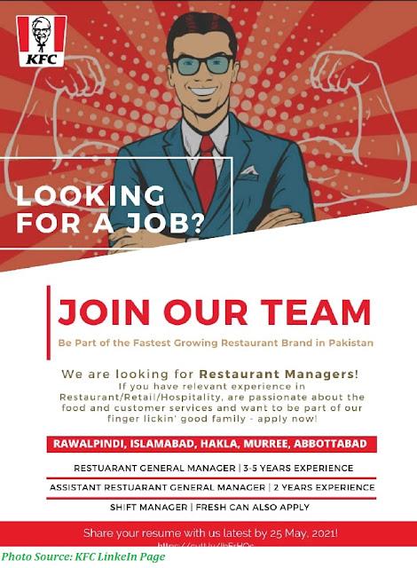 KFC Jobs 2021 - Latest Jobs in KFC Pakistan Restaurant Managers, Shift Managers, Assistant Managers and Delivery Riders
