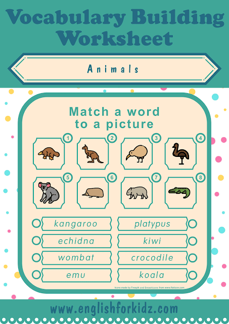 Australian animals worksheet - word to picture matching - free ESL worksheets