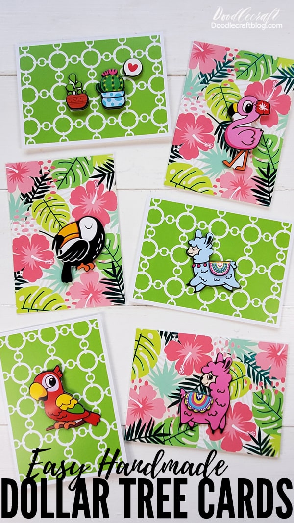 Learn how to make easy handmade cards with craft supplies from Dollar Tree. Dollar store crafts are the best. These embellished cards are perfect for Summer camps, girls nights or the perfect kids craft.