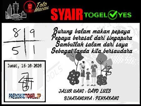 Syair Togel Yes Macau Jumat 16 Oktober 2020