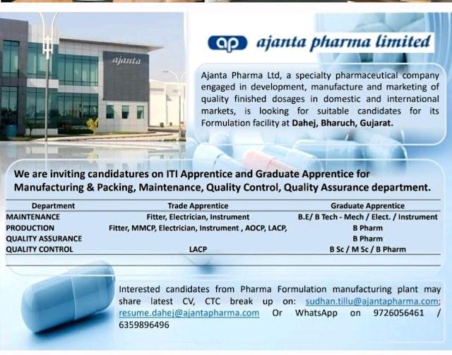 Ajanta Pharma   Urgent recruitment for Production/QC/QA/Maintenance at Baruch, Gujarat