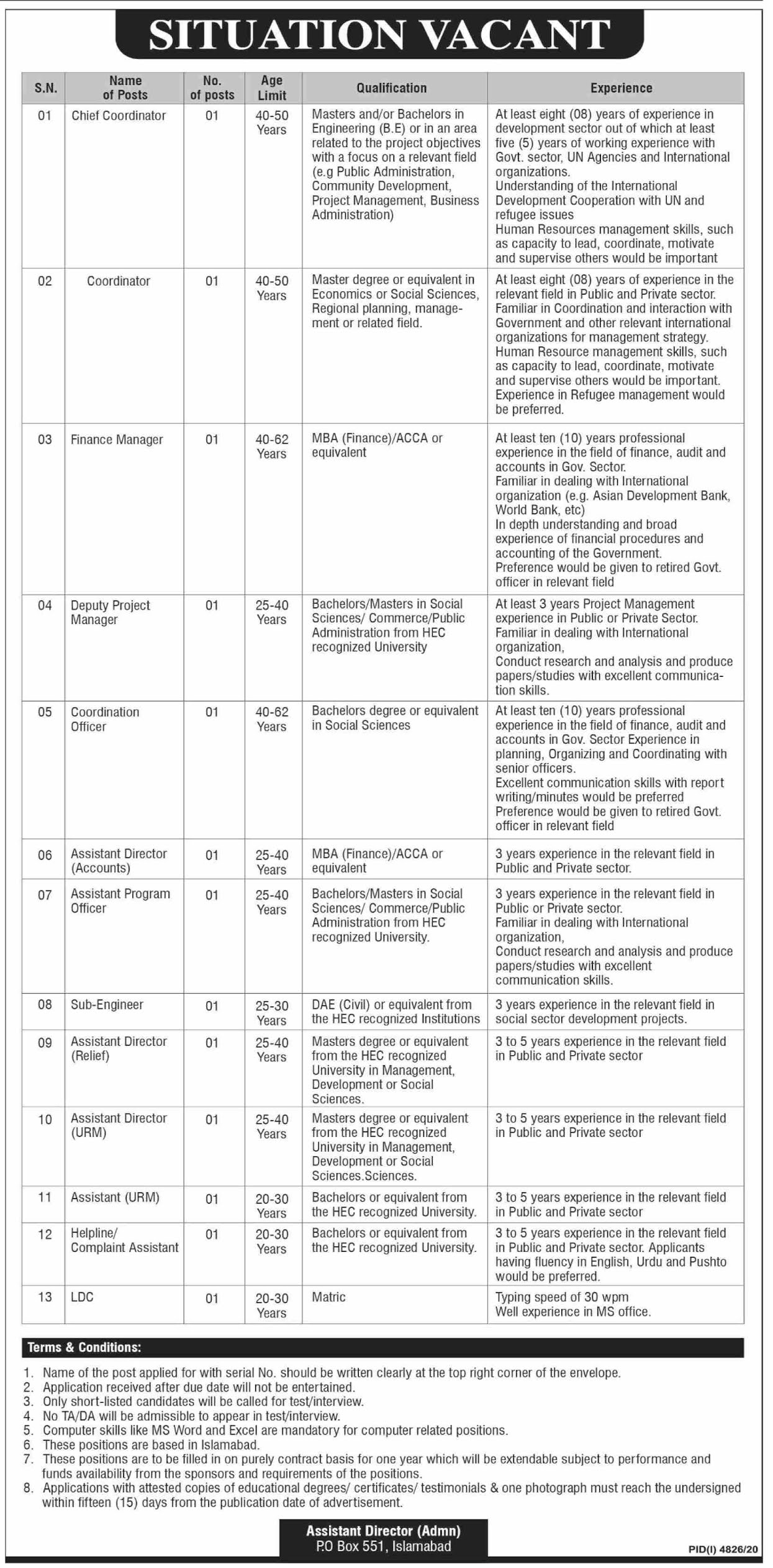 PO Box 551 Jobs 2021 - Public Sector Organization Jobs 2021 - Latest Govt Job Advertisement in Pakistan