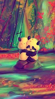 Panda Lovers Mobile HD Wallpaper
