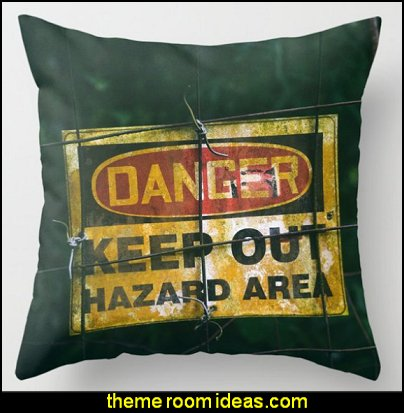 Danger sign Throw Pillow  construction themed bedroom decor construction bedding