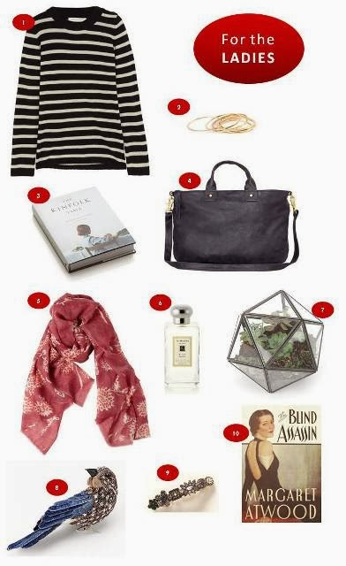 Gift ideas for her including Chinti and Parker sweater, Catbird stacking rings, The Kinfolk Table, Clare Vivier Messenger Bag, Virginia Johnson scarf, Jo Malone Wild Fig and Cassis cologne, Terrarium, West Elm ornament, Anthropologie barrette, The Blind Assassin by Margaret Atwood.