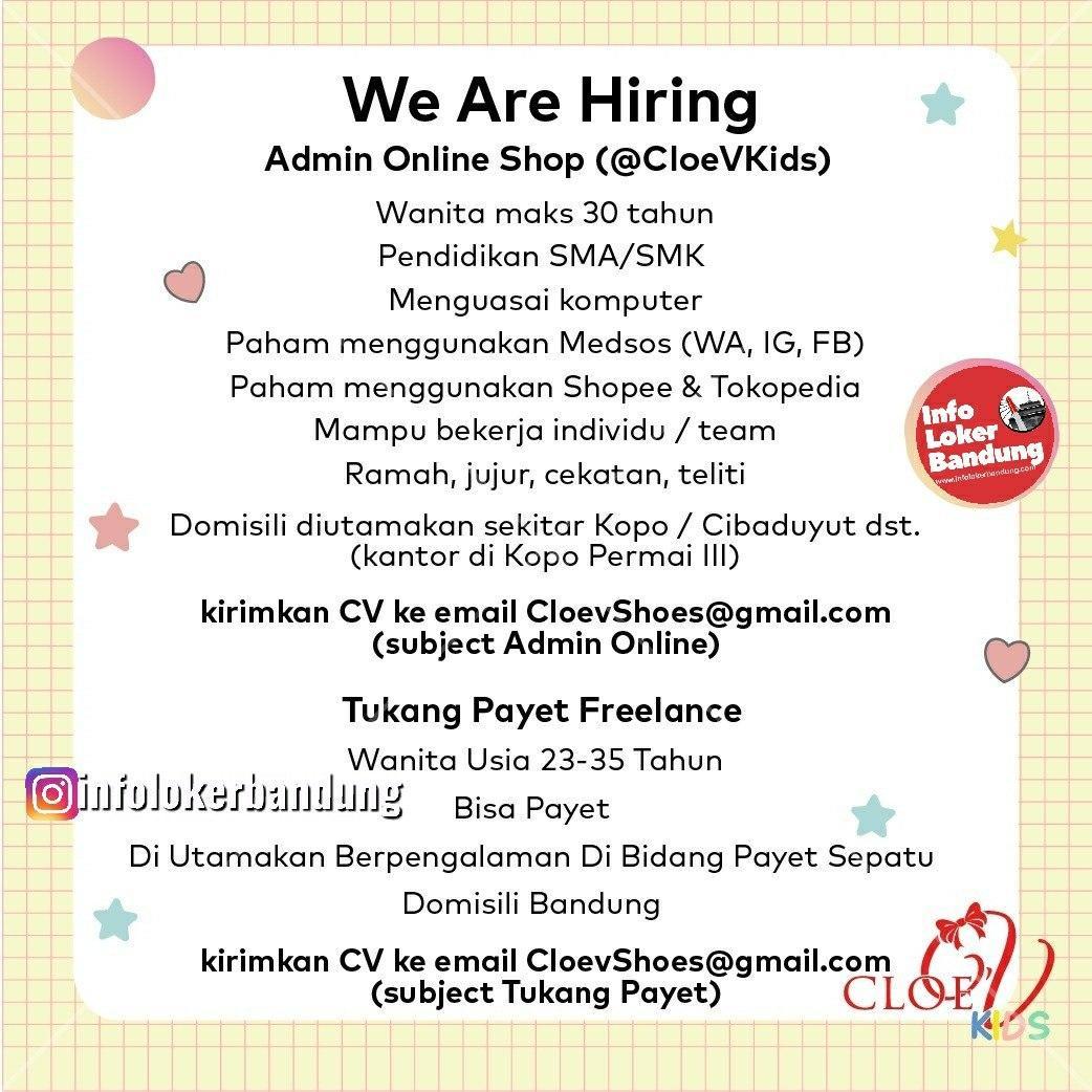 Lowongan Kerja Admin Online Shop Cloe'V Kids Bandung Maret 2020