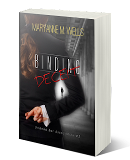 Woman in a suit is looking at a man at the far end of a hallway, fingers crossed behind her back. Maryanne M. Wells. Binding Deceit. Undead Bar Association 3.