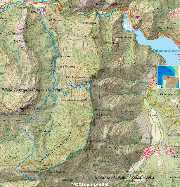 Mapa IGN de la ruta a la Sierra del Crespón